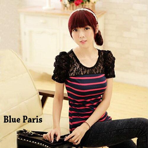 短袖上衣 ~ 氣質條紋公主蕾絲短袖上衣~4色~~11A01~藍色巴黎~
