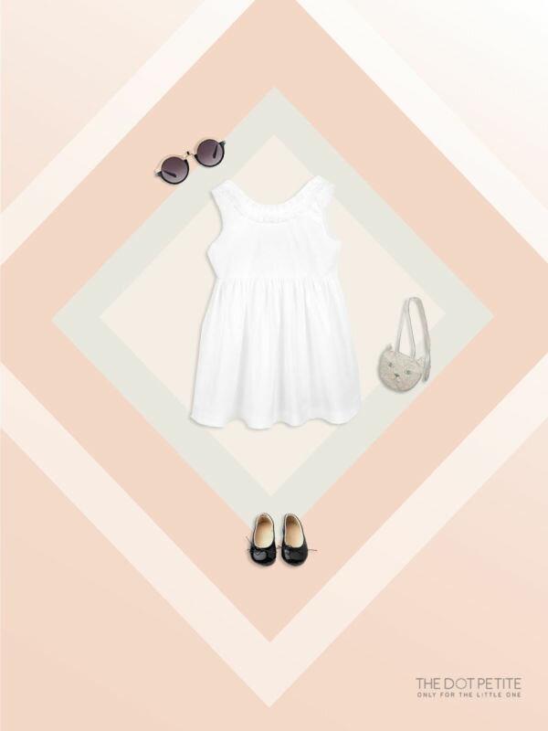 THE DOT PETITE韓國童裝 女童洋裝 白色百摺領低背小洋裝/吊帶裙/背心裙