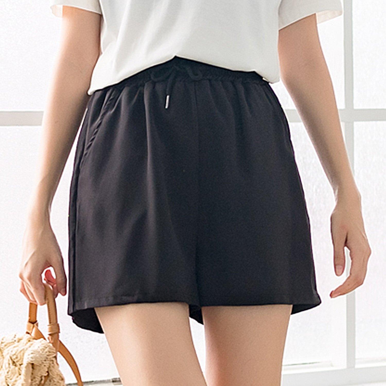 氣質短褲--時尚休閒風綁繩收腰鬆緊修身素色口袋百搭短褲裙(黑XL-3L)-R223眼圈熊中大尺碼 0