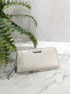 美國百分百【CalvinKlein】皮夾CK長夾手拿包女包皮革錢包鈔票女logo銀色J027