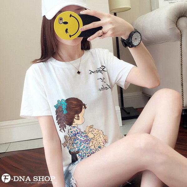 F-DNA★清新小女孩側影印圖圓領短袖上衣T恤(3色-M-2XL)【ET12698】 2