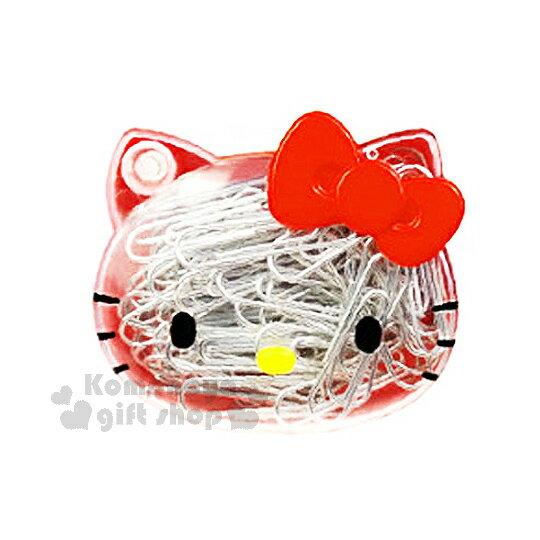 〔小禮堂〕Hello Kitty 迴紋針組~透明.大臉.紅蝴蝶結~附 盒