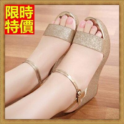 楔型涼鞋厚底涼鞋-時尚閃亮優雅魅力真皮女坡跟涼鞋4色69w16【獨家進口】【米蘭精品】