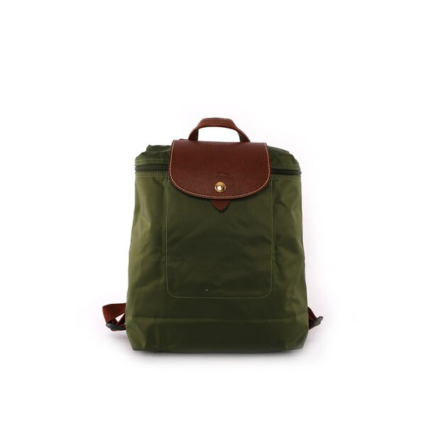 【LONGCHAMP】帆布後背包 (卡其綠)1699089C94