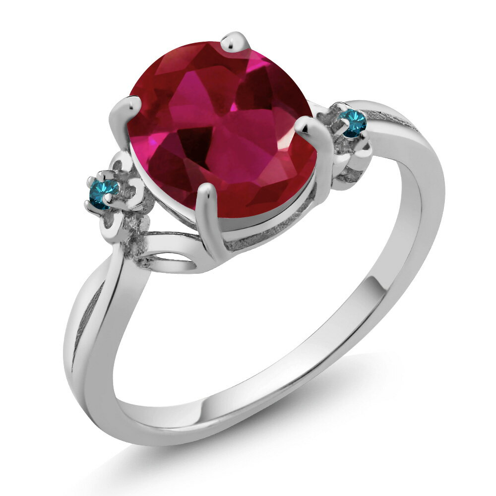 2.53 Ct Oval Red Created Ruby Blue Diamond 925 Sterling Silver Ring 0
