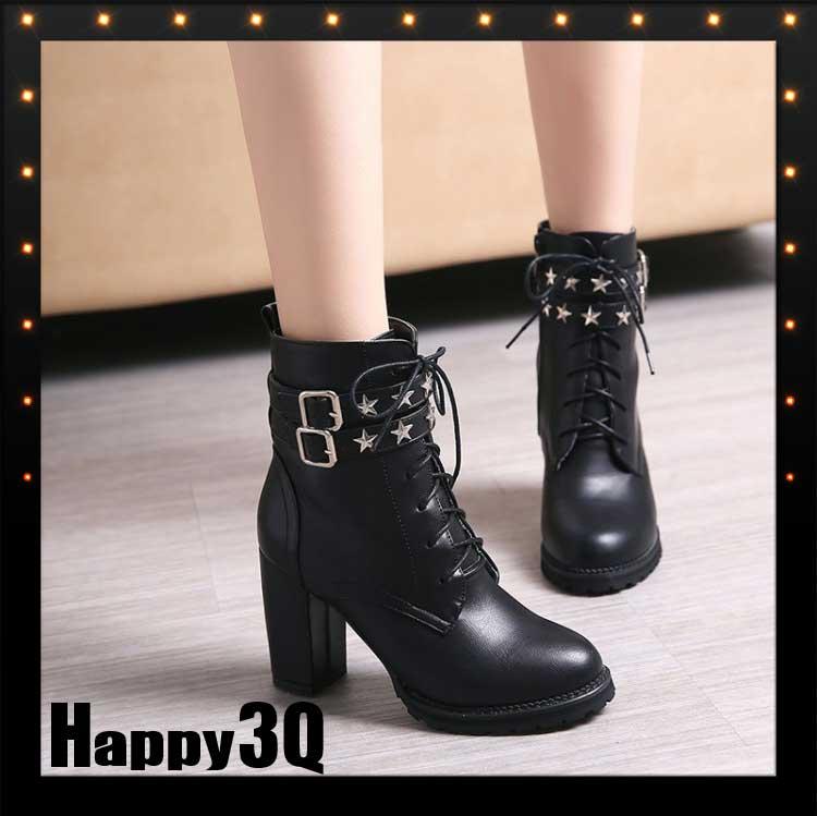 性感帥氣龐克鉚釘粗跟高跟潮流圓頭性感仿真皮黑色單靴短靴-灰/黑34-43【AAA0674】