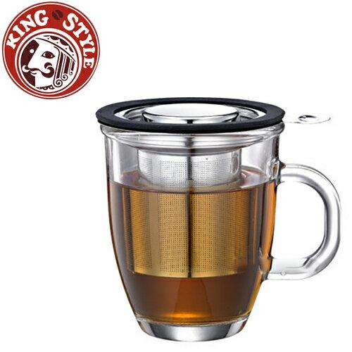 金時代書香咖啡 Tiamo 亮彩附蓋不鏽鋼濾網 玻璃馬克杯445ml 黑色