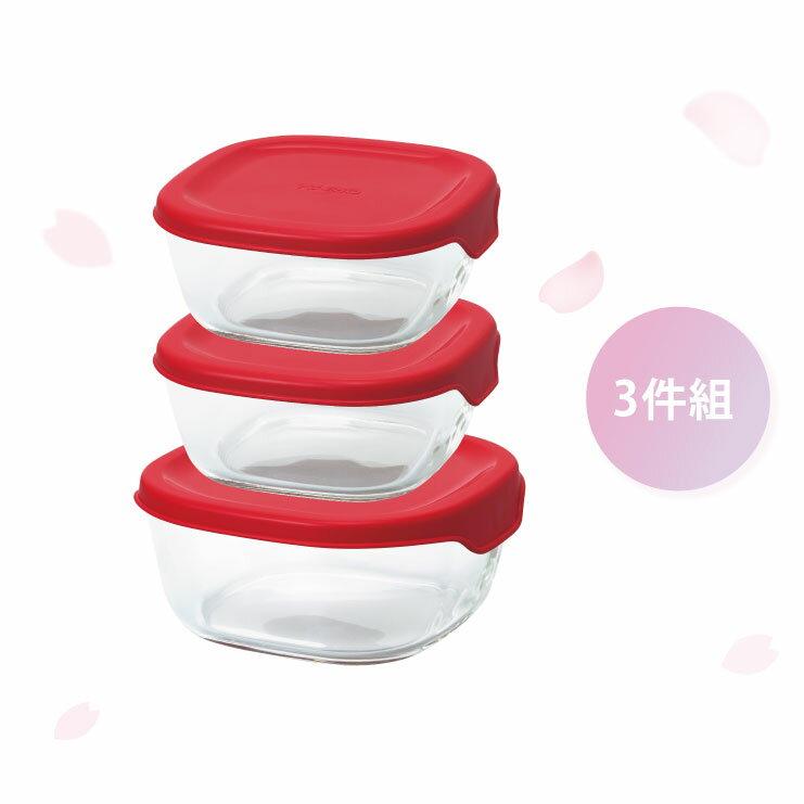 HARIO 方形玻璃保鮮盒3件組/紅色/KST-2012-R 0