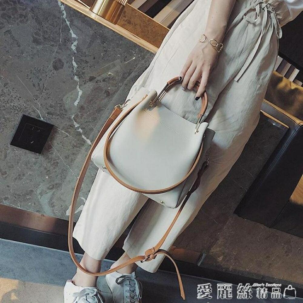 手提包女2019新款潮韓版百搭斜背包簡約時尚側背包大容量水桶包