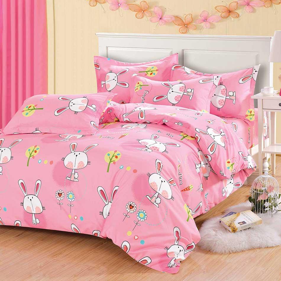 【粉紅小兔】天鵝絨輕柔棉床包組