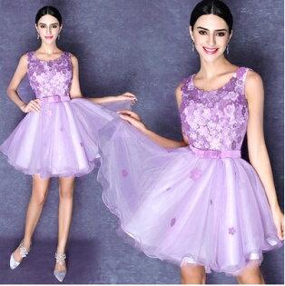 天使嫁衣【AE2510】紫色滿版花片收腰派對小禮服˙預購訂製款