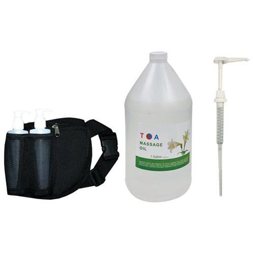 TOA Combo Natural Body 1 Gallon Massage Oil Unscented + Bottle Holster + Pump Set 7f0976637b1b9a6511dec579f1976fef