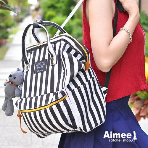 ~ ~~Aimee包包屋~首爾街頭‧韓國 可愛寶貝熊旅行家水手後背包‧ 空運旅行包托特包登