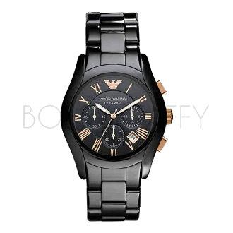 AR1410 ARMANI 亞曼尼 時尚黑奢華休閒商務陶瓷石英錶 男錶