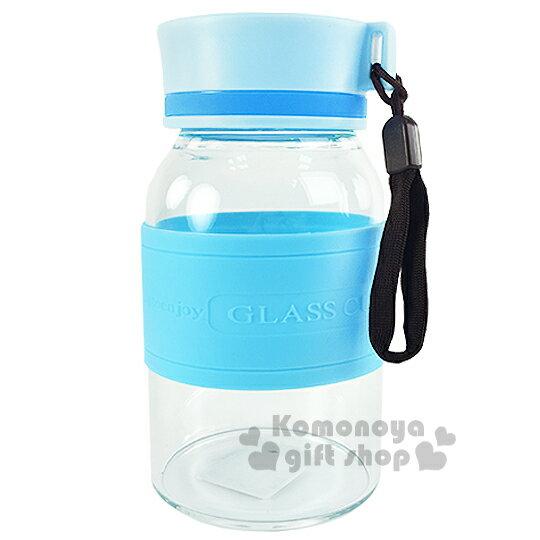 〔小禮堂〕 耐熱隨身玻璃瓶《S.藍.320ml》附提繩