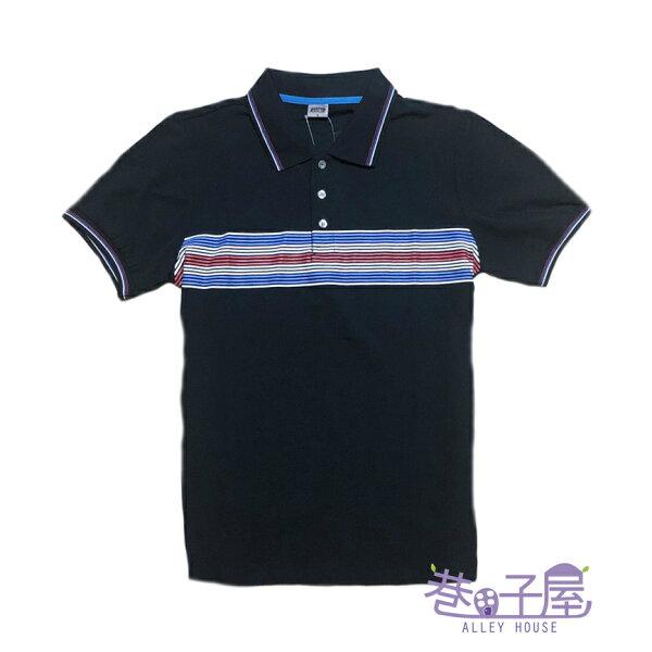【巷子屋】GAOMA高馬男款條紋造型潮流POLO衫[41106]深藍超值價$250