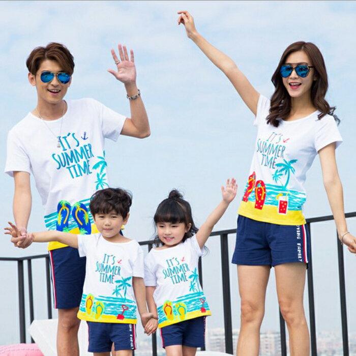 糖衣子輕鬆購【DZ0276】韓版時尚寬鬆沙灘海洋印花T恤上衣家庭親子裝 - 限時優惠好康折扣