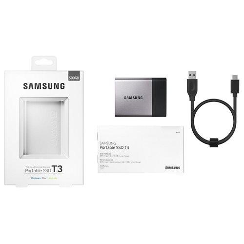 "Samsung T3 Portable 500GB SSD 500G USB 3.1 External Solid State Drive MU-PT500B + 2.5"" SSD case 3"