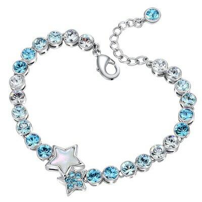 ★925純銀手鍊水晶手環-鑲嵌29顆水晶藍色星星生日情人節聖誕節禮物女飾品73qh17【獨家進口】【米蘭精品】
