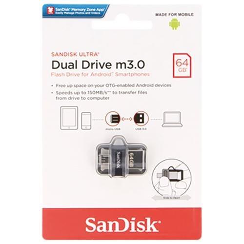 SanDisk 64GB OTG Ultra Dual microUSB 64G USB 3.0 150MB/s Flash Pen Drive SDDD3-064G + USB 2.0 OTG microUSB Reader 1