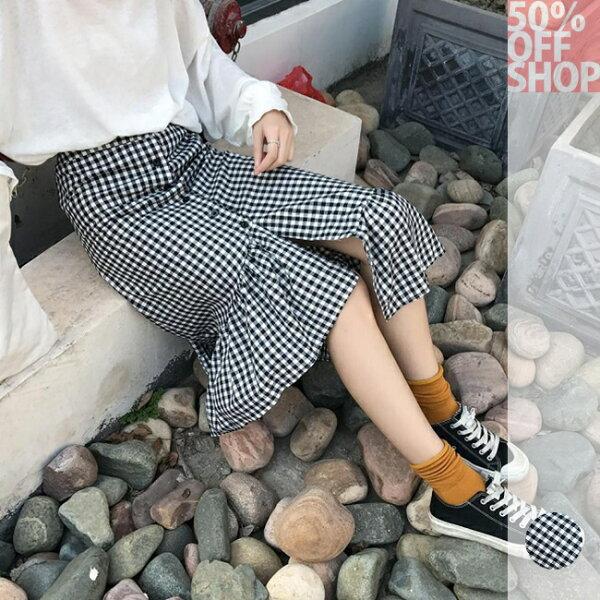50%OFFSHOP韓國chic不規則格子半身裙(1色)【G035573S】