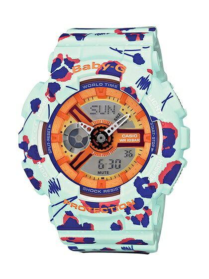 CASIO BABY~G BA~110FL~3A花朵豹紋雙顯 腕錶 橘面43.4mm ~