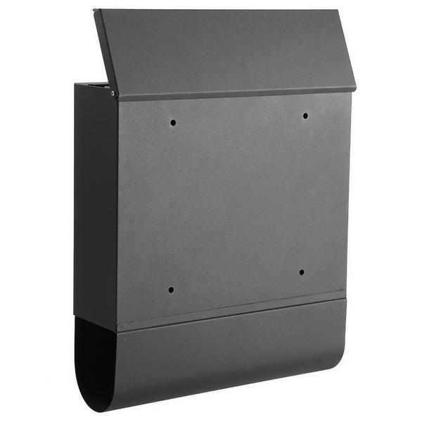Rust Proof Powder Coated Steel Black Vertical Lockable Mailbox Wall Mount 3