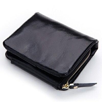 ~皮夾 短夾 純色零錢包~油蠟皮復古大容量三折女包包4色73eb56~義大利 ~~米蘭 ~