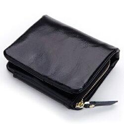 ☆皮夾 短夾 純色零錢包-油蠟皮復古大容量三折女包包4色73eb56【義大利進口】【米蘭精品】