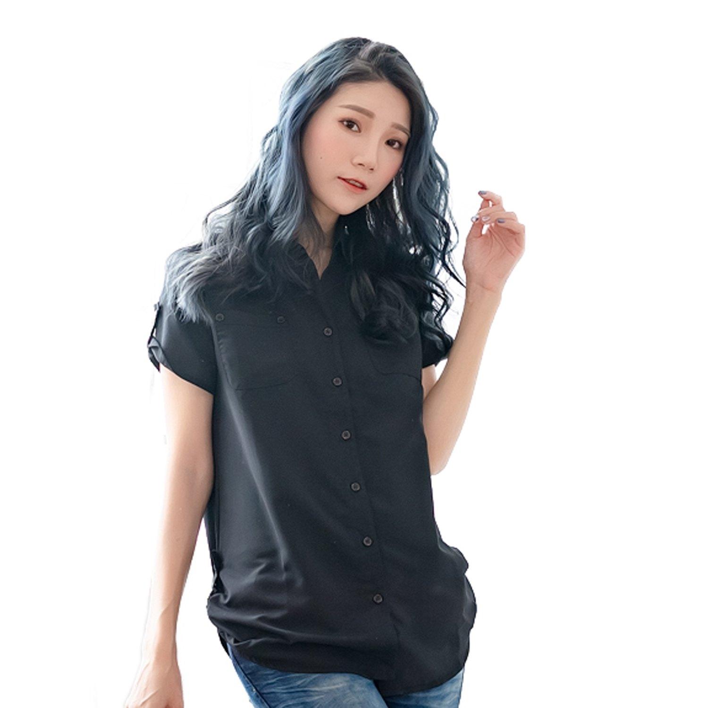 氣質襯衫--優雅迷人抓皺飾帶下襬雙口袋長版短袖襯衫(白.黑.粉.藍S-2L)-H99眼圈熊中大尺碼 0