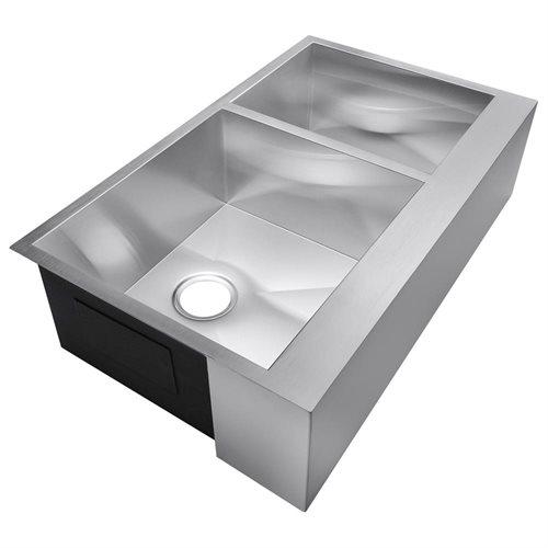 """33"""" x 20"""" x 9"""" Stainless Steel Kitchen Sink Under Mount Double Bowl HandMade 16 Gauge T-304 2"""