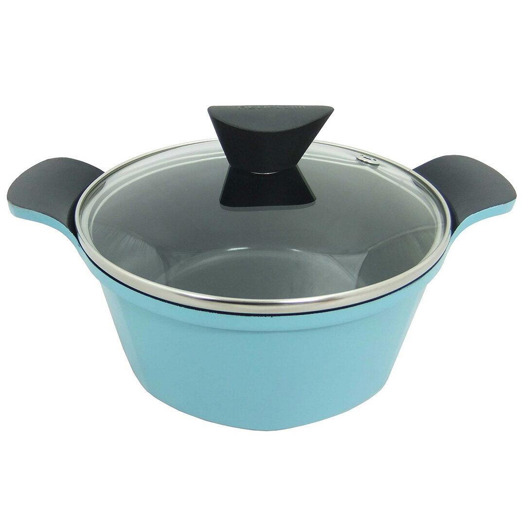 【韓國NEOFLAM】Venn系列 24cm陶瓷不沾湯鍋+玻璃鍋蓋EC-VE-C24-GL(水藍)