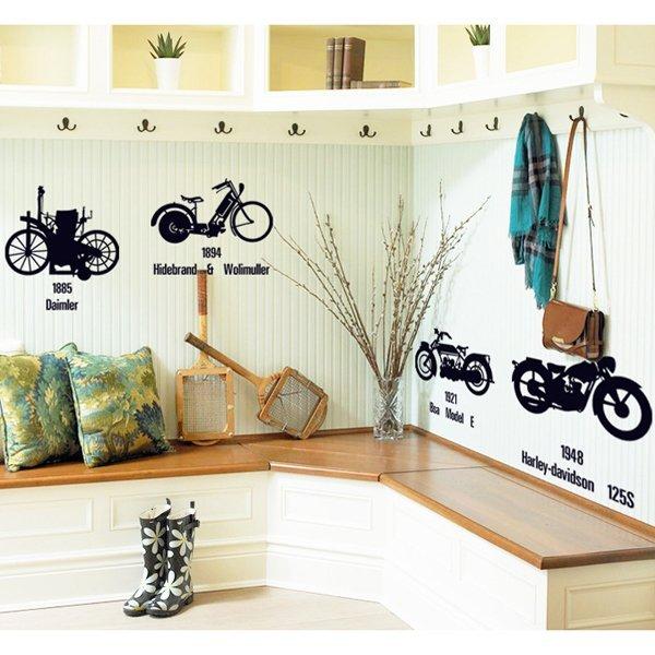 BO雜貨【YV0621】DIY時尚裝飾組合可移動壁貼 牆貼 壁貼 創意壁貼 復古機車 AY7161