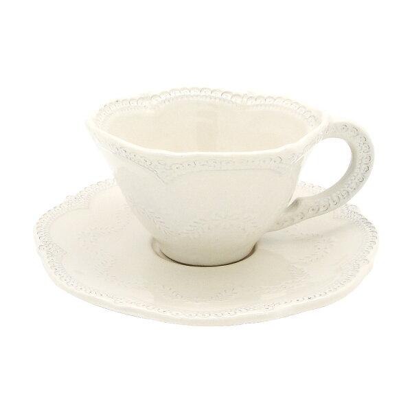 義大利VBCCASA蕾絲花茶咖啡杯盤組(米白)