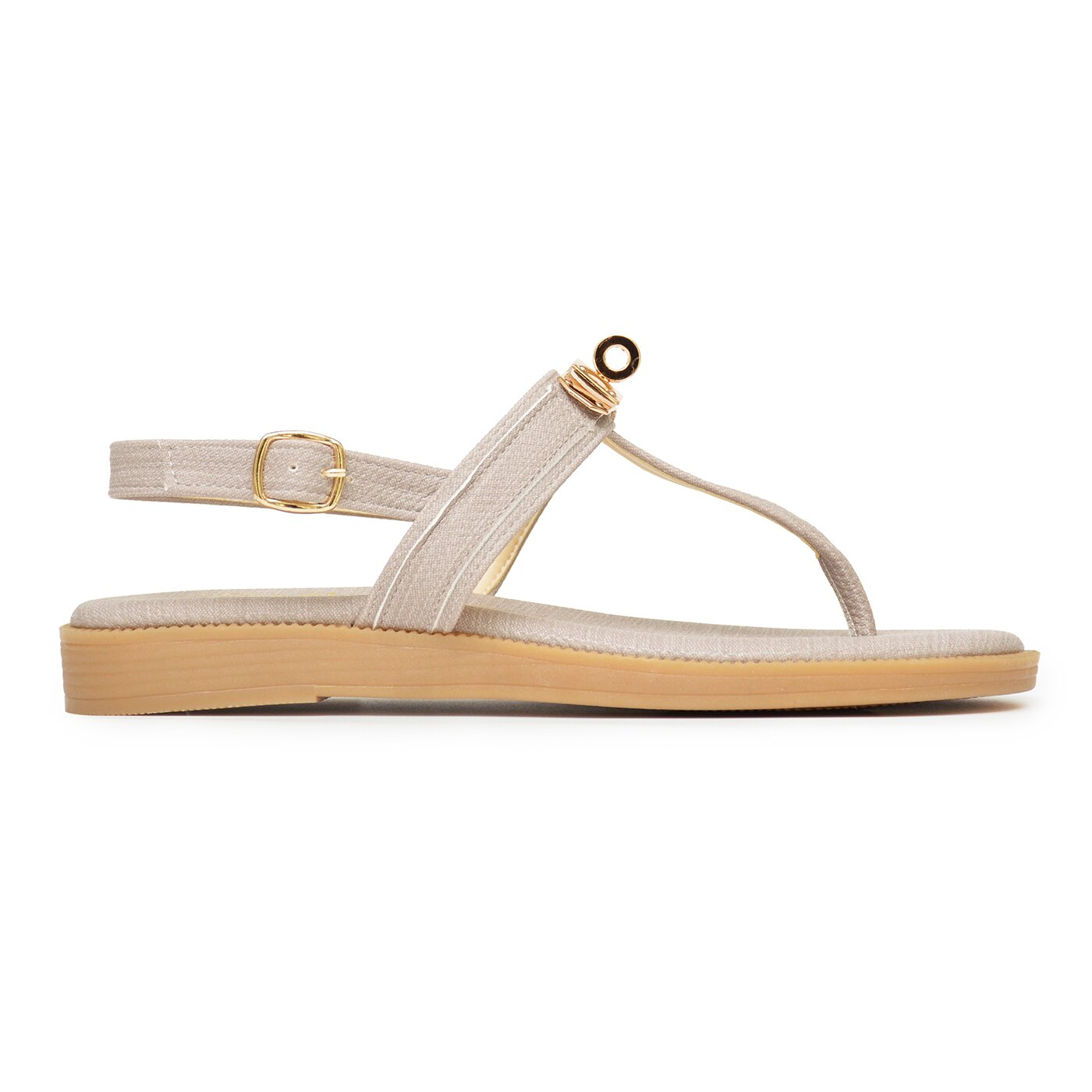 涼鞋 金色鎖釦軟底夾腳平底鞋-灰