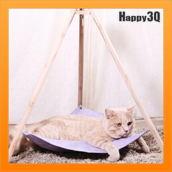 三角支架貓咪吊床寵物床狗狗窩寵物窩三角床寵物帳篷-藍米紫綠【AAA4480】