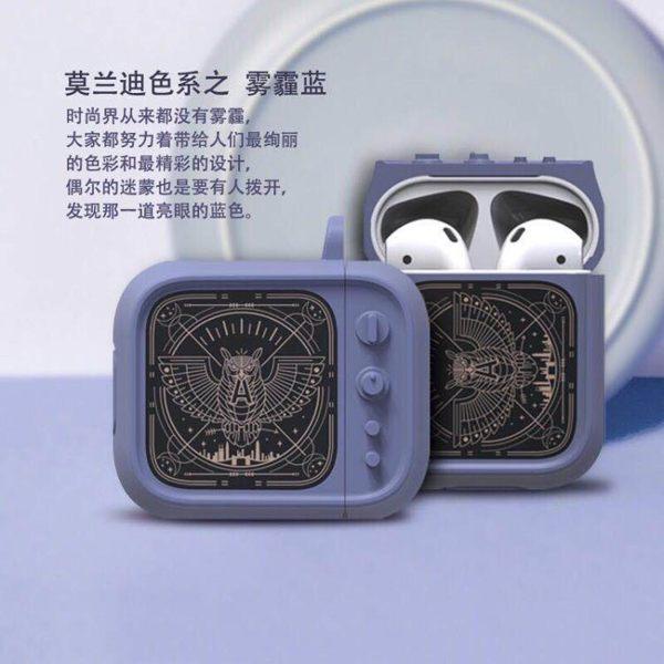 適用Airpods保護套2代蘋果無線藍芽耳機收納盒創意復古電視Tv新潮