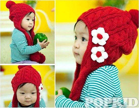 =優生活=『可愛飛行帽$129元』韓國超可愛幼兒小花針織飛行帽 毛帽 保暖帽 兒童毛帽
