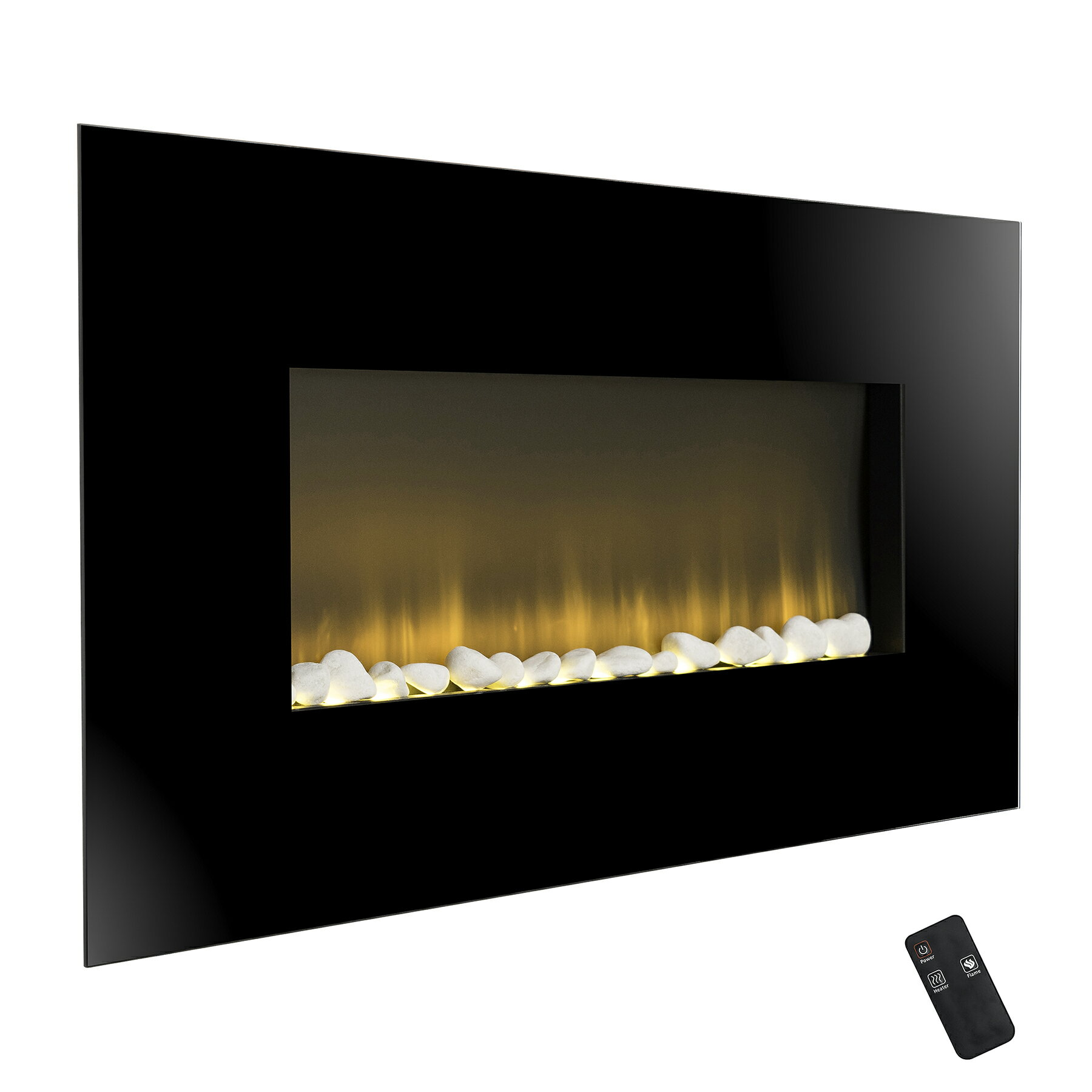 "AKDY 37"" Wall Mount Pebbles Bed Electric Fireplace Heater w/ Remote Control 2"