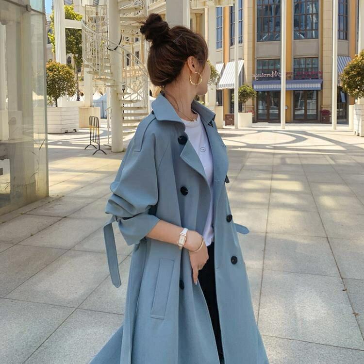 風衣 今年流行風衣女中長款正韓寬鬆百搭春秋裝氣質小個子外套-新年新品全館免運