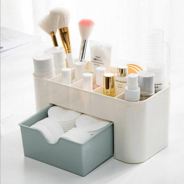 糖衣子輕鬆購【DZ0374】桌上抽屜型化妝品收納盒整理盒多格化粧品收納盒