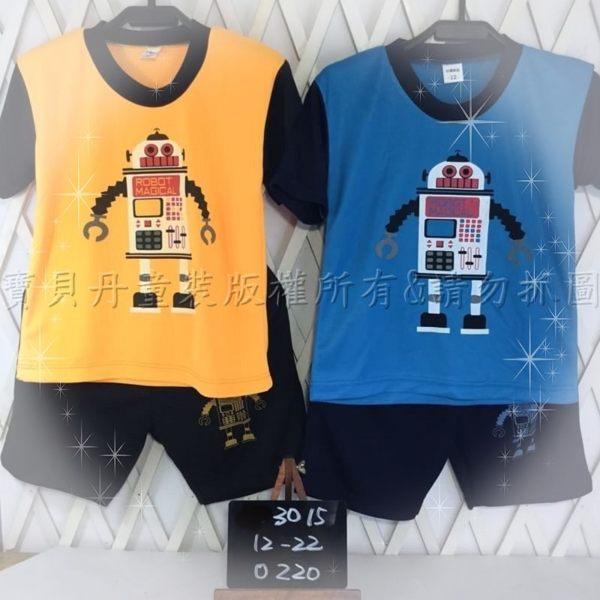 ☆╮寶貝丹童裝╭☆ 簡單 素面 造型 機器人 圖案 透氣 排汗 舒適 男女童 短袖 套裝 新款 ☆