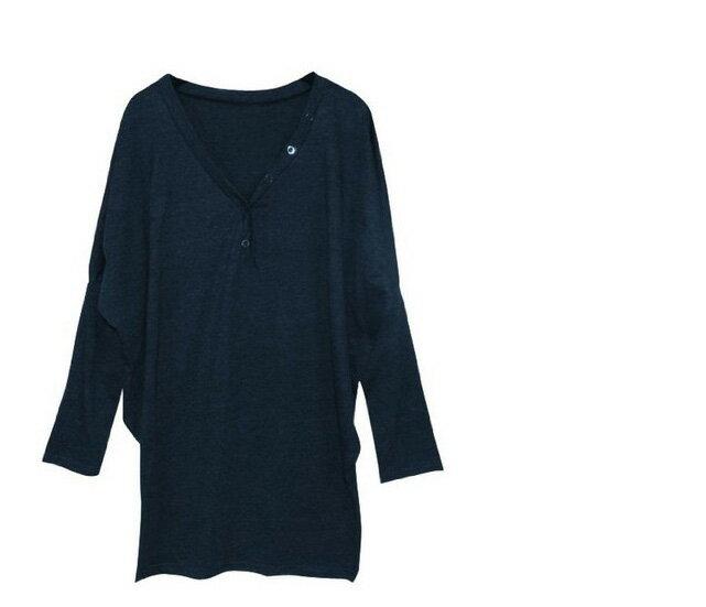 長袖T恤V領T恤 深V領排釦大蝙蝠袖連身裙 艾爾莎【TAE1397】 2