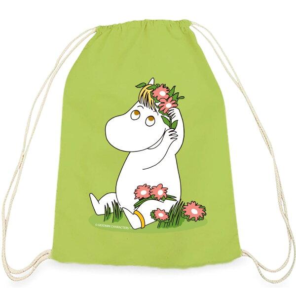 【嚕嚕米Moomin】彩色束口後背包-花漾可兒(果綠)