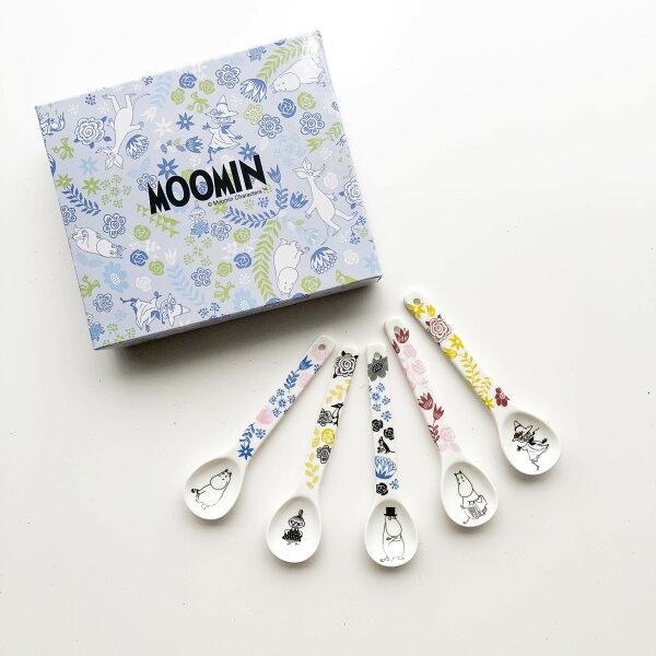 |現貨|日本空運MOOMIN姆明嚕嚕咪陶瓷湯匙5入禮盒|免運|花紋款|5入組|嚕嚕咪陶瓷湯匙湯勺姆明MOOMIN日本食器