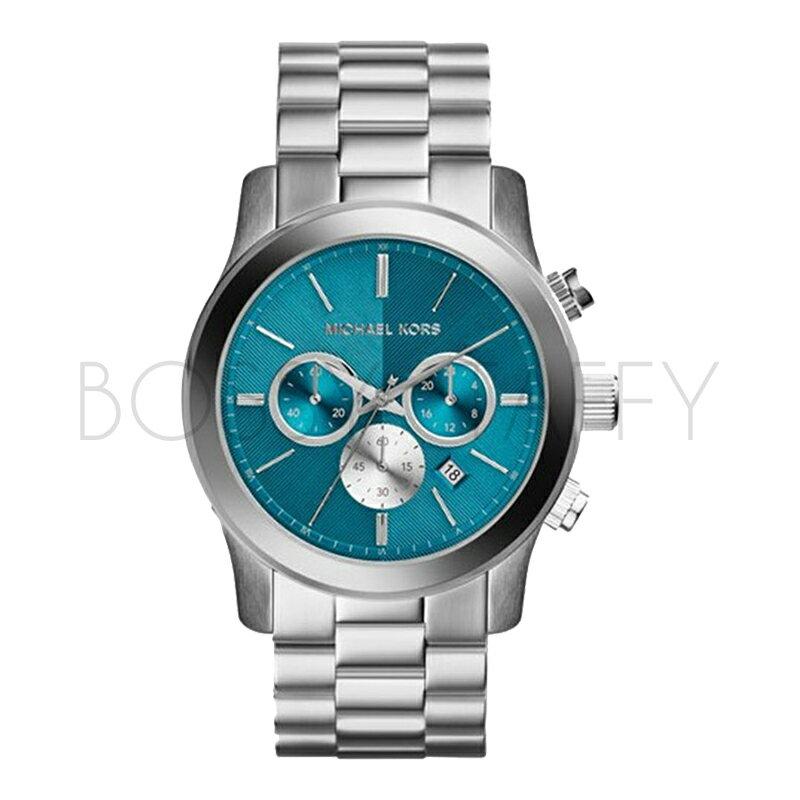 MK5953 MICHAEL KORS 湖藍色炫彩大錶盤手錶銀色不銹鋼女錶