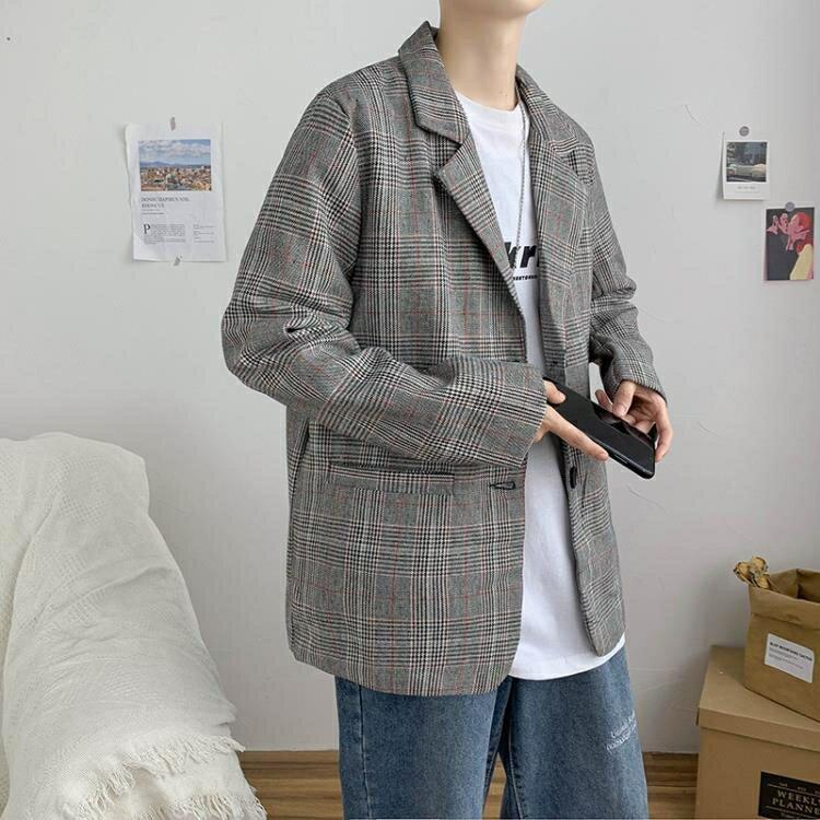 「樂天優選」西裝外套 秋季港風ins復古格子西裝外套男2021新款韓版潮流帥氣休閒小西服