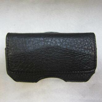 ~雪黛屋~SANDIA-POLO 手機皮套100%進口牛皮革4寸手機適用可釦於皮帶上二組加強固定設計#3641(4寸)黑