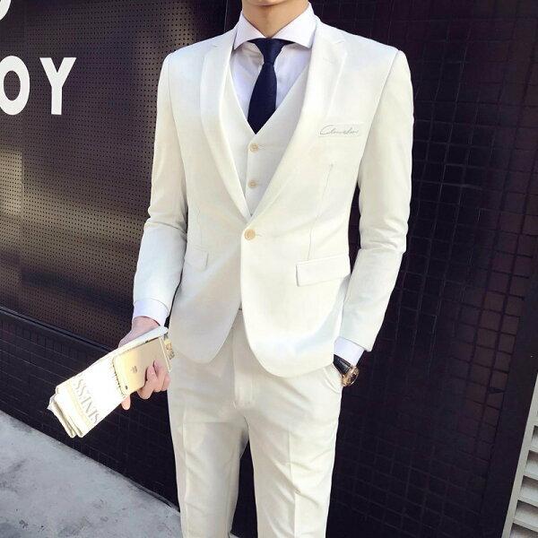 FINDSENSEH1男士經典刺繡設計單扣西服套裝顔色靓麗主持人西裝馬甲西褲三件套