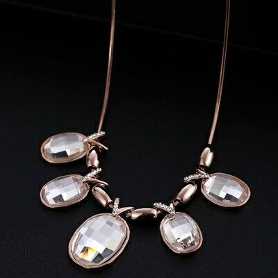玫瑰金項鍊 水晶純銀吊墜~精緻鑲鑽 大方七夕情人節 女飾品3色73dw37~ ~~米蘭 ~